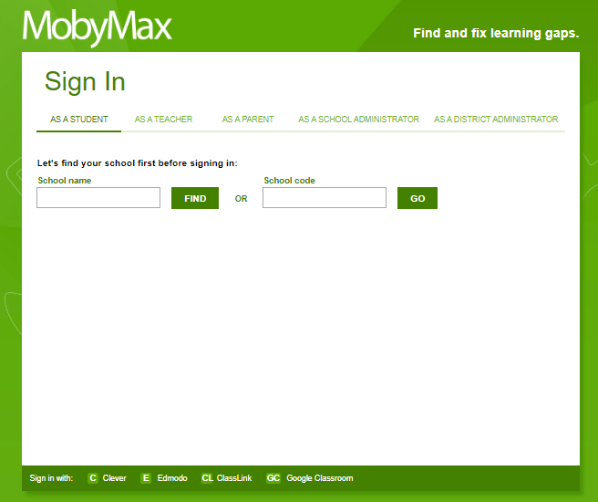 mobymax-sign-in-page